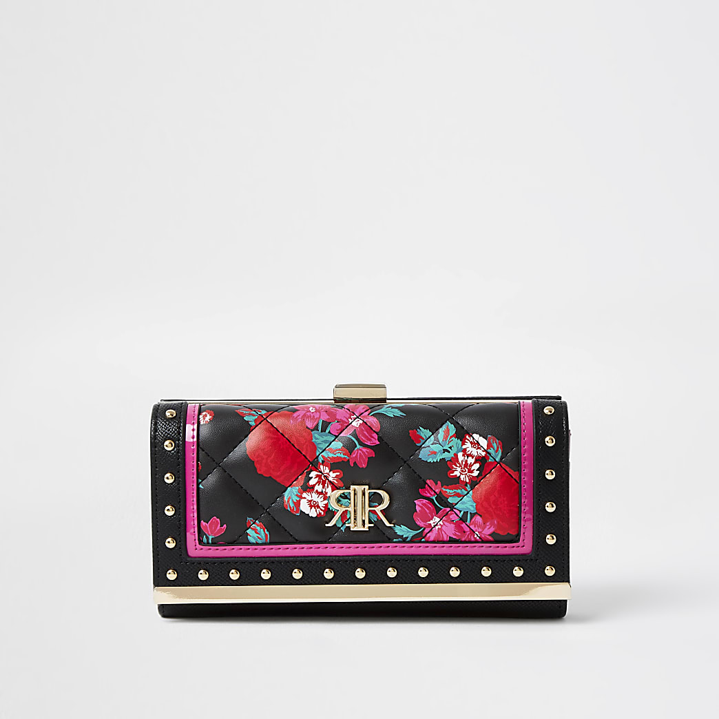 Black rose printed cliptop purse