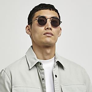 Schwarze Sonnenbrille mit rundem Rahmen