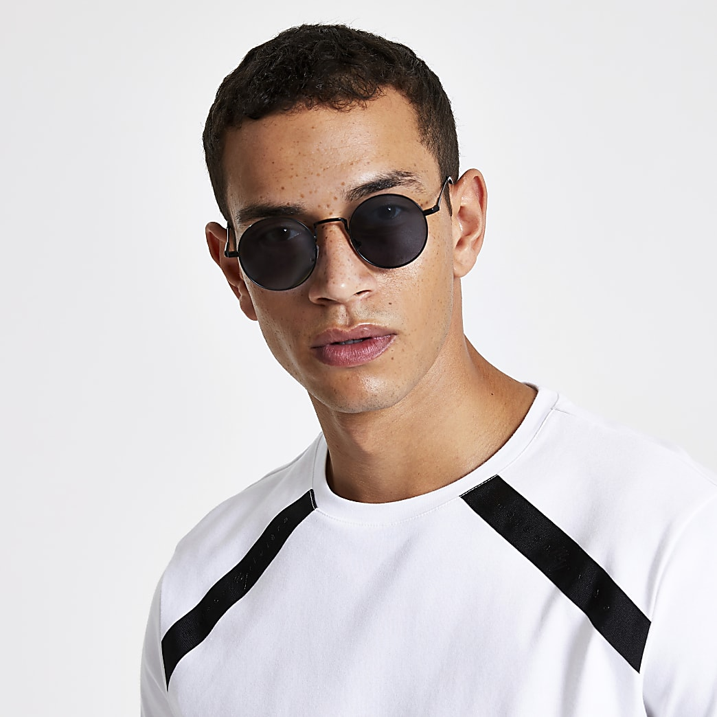 Black round smoke lens sunglasses