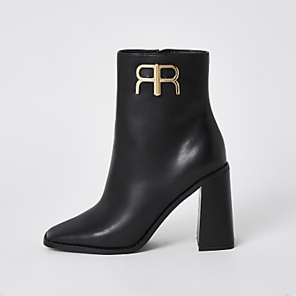 Black 'RR' branded ankle boots
