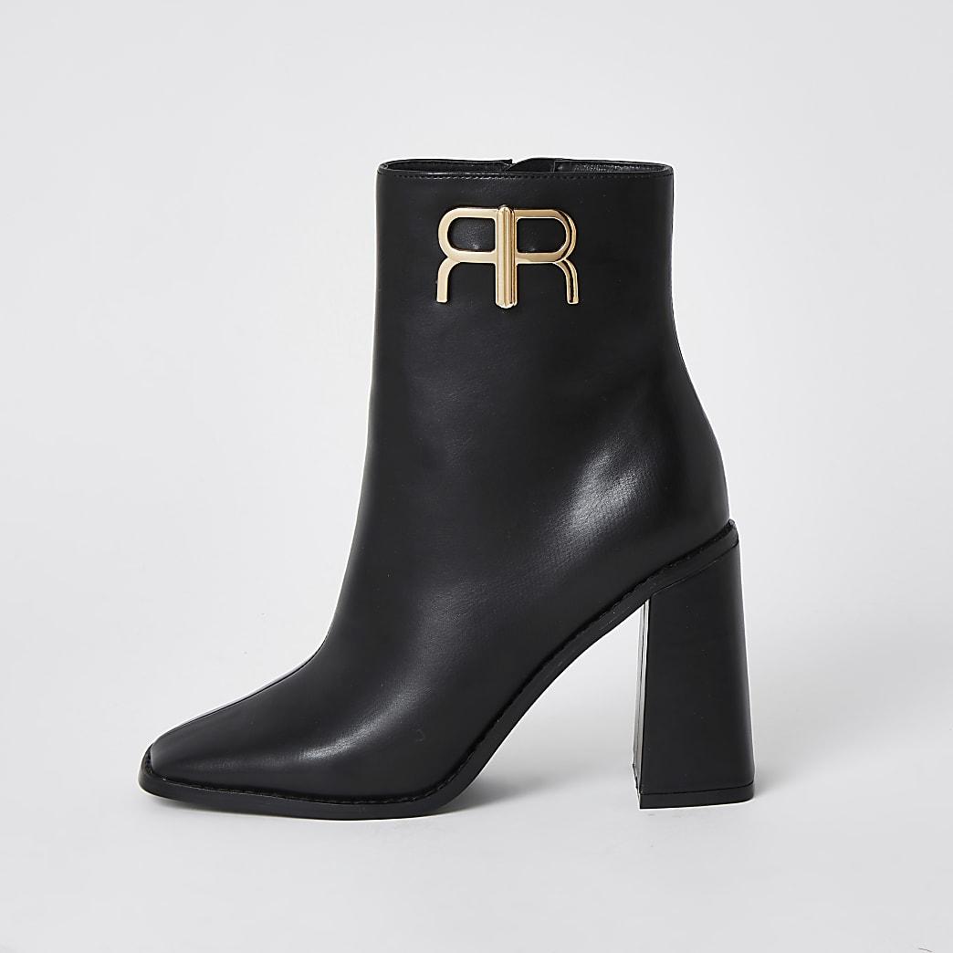 Black 'RR' branded ankle boots