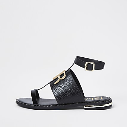Black RR buckle flat sandal