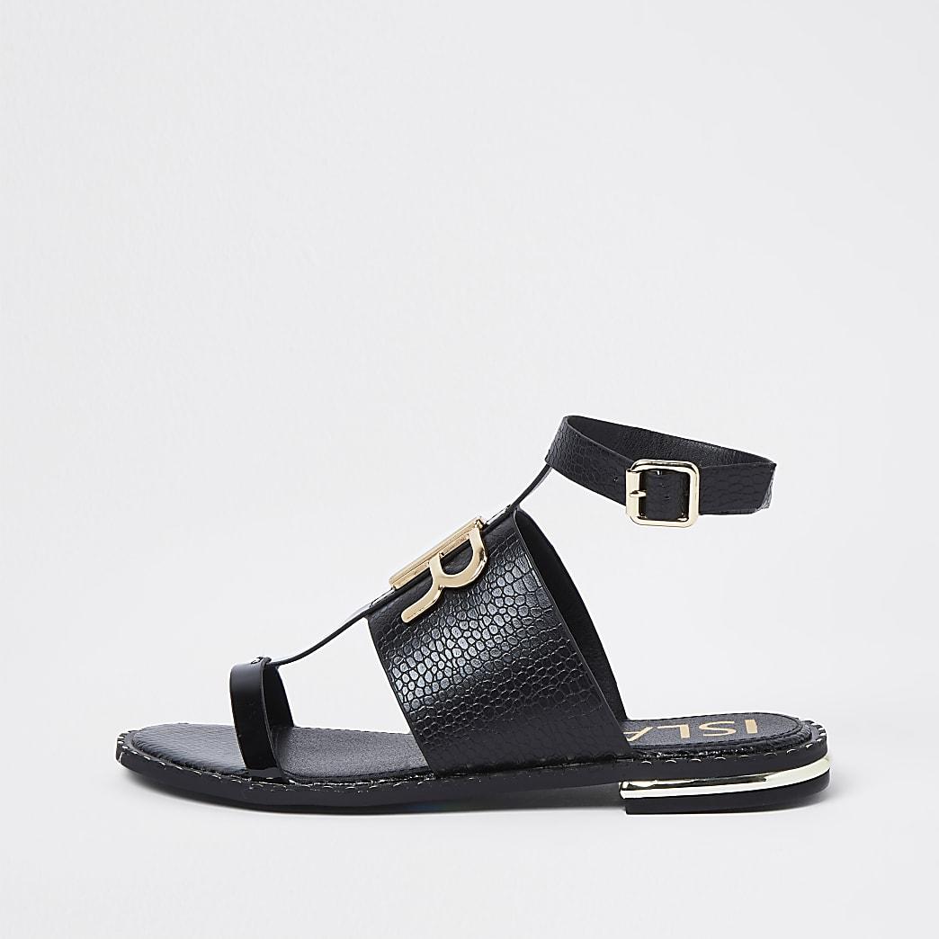 Black RR buckle flat sandals