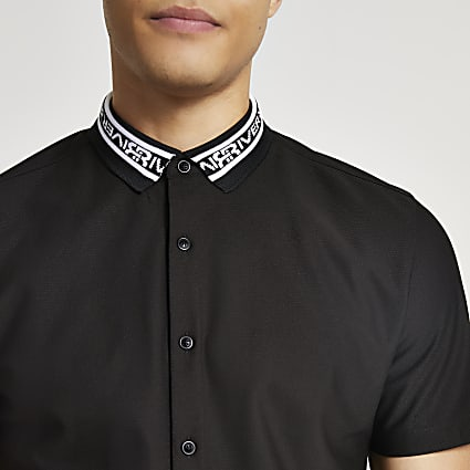 Black RR collar muscle shirt