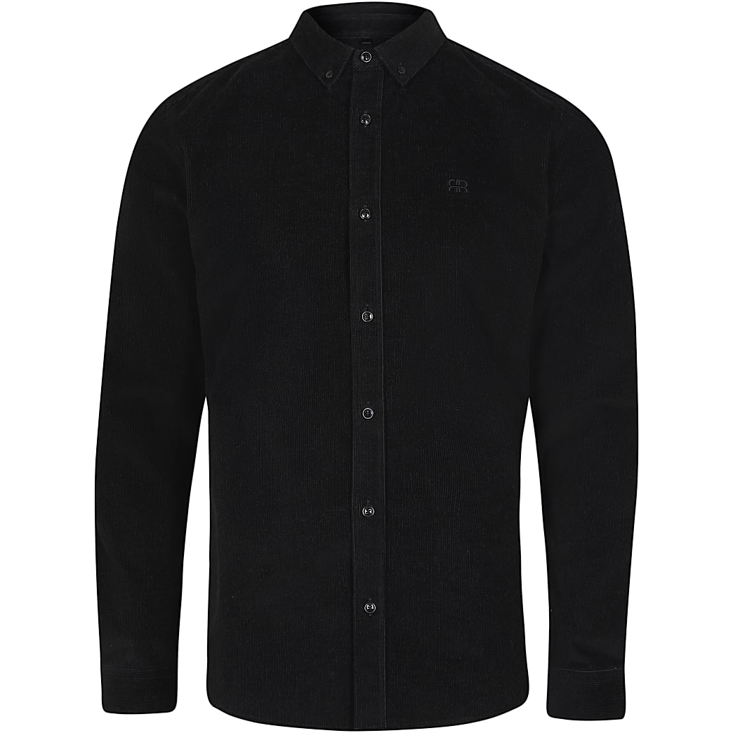 Black RR corduroy slim fit long sleeve shirt