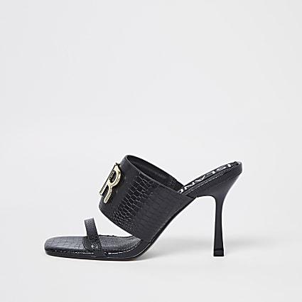 Black RR croc mules