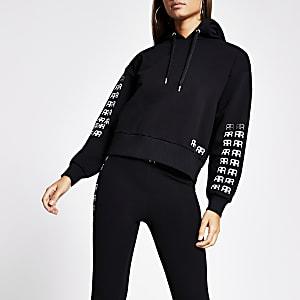 Zwarte verfraaide cropped hoodie met RR-print
