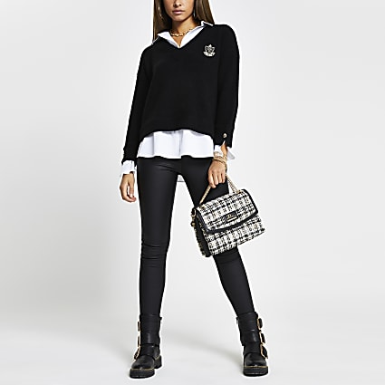 Black 'RR' embroidered boxy shirt jumper