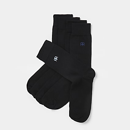 Black RR embroidered socks 5 pack