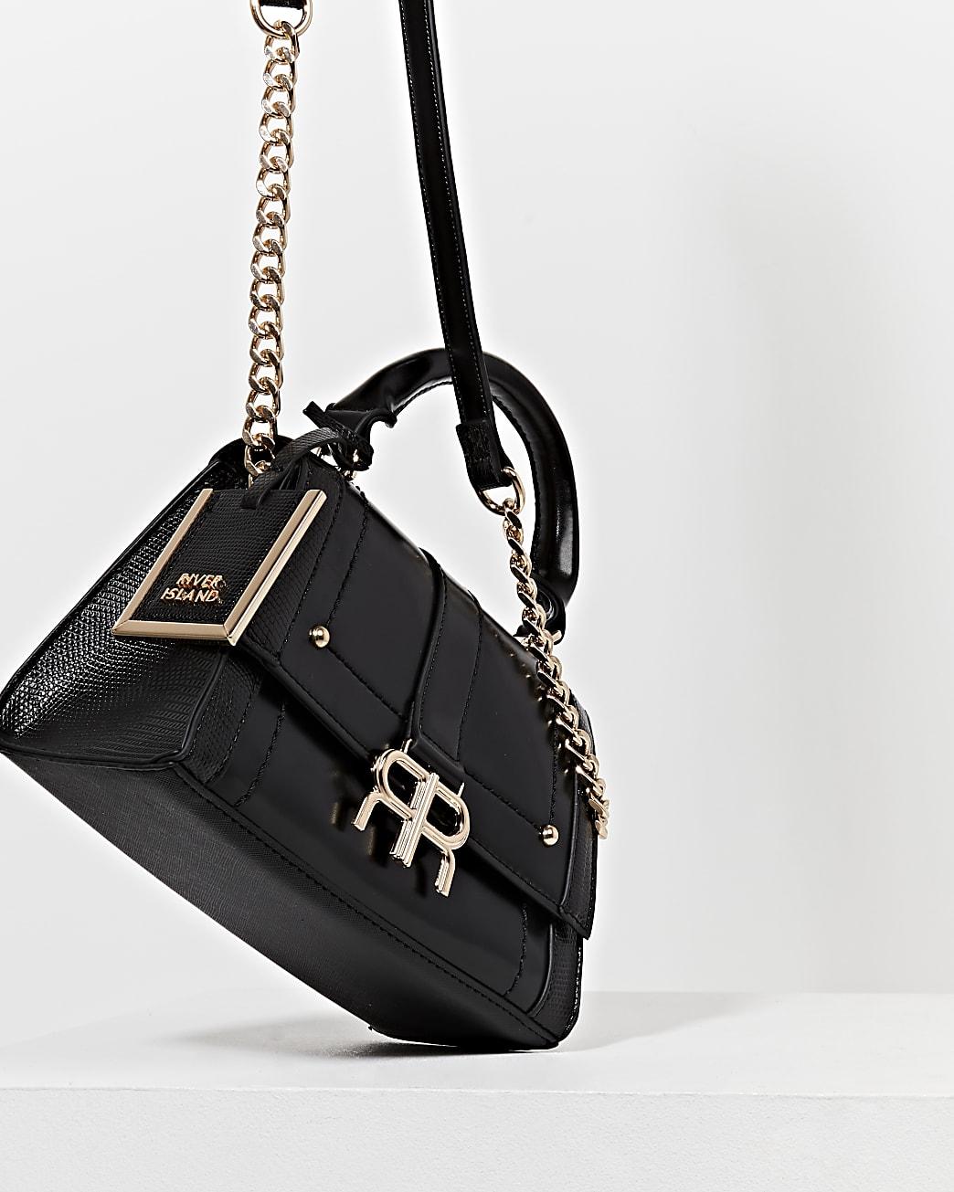 Black 'RR' faux leather tote bag