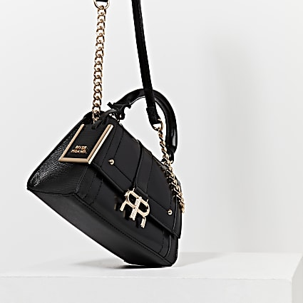 Black 'RR' faux leather tote bag