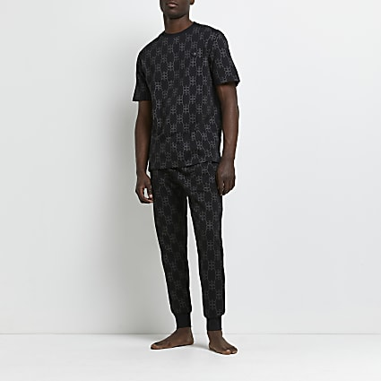 Black RR foil monogram jogger set