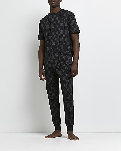 Black RR foil monogram pyjama set