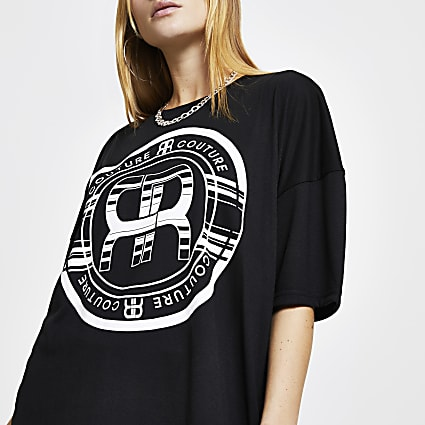 Black RR logo print oversized t-shirt