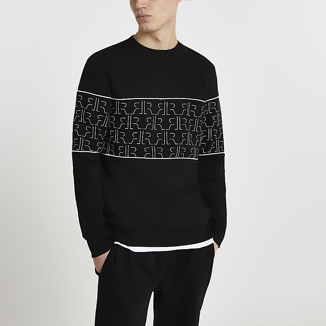 Black RR Monogram blocked sweatshirt