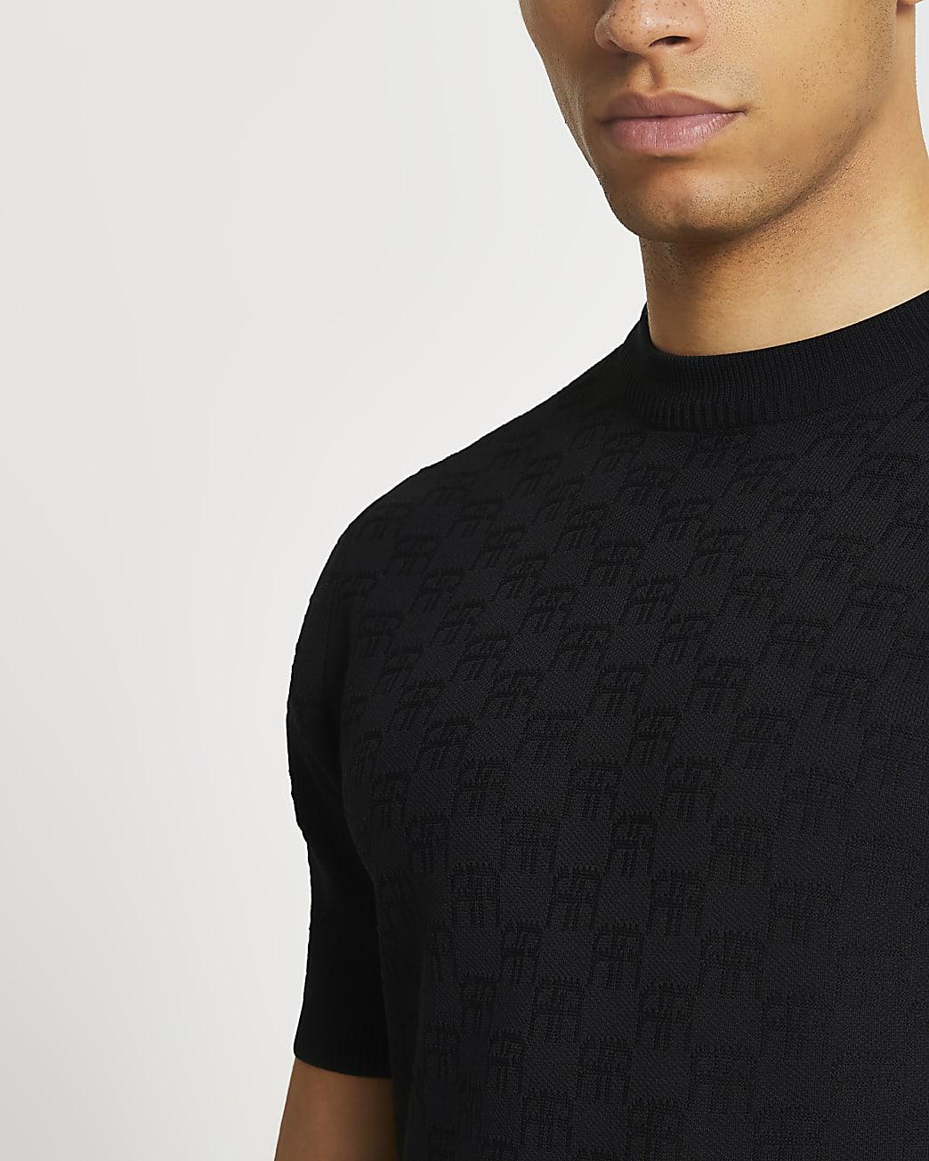 Black RR monogram muscle fit t-shirt
