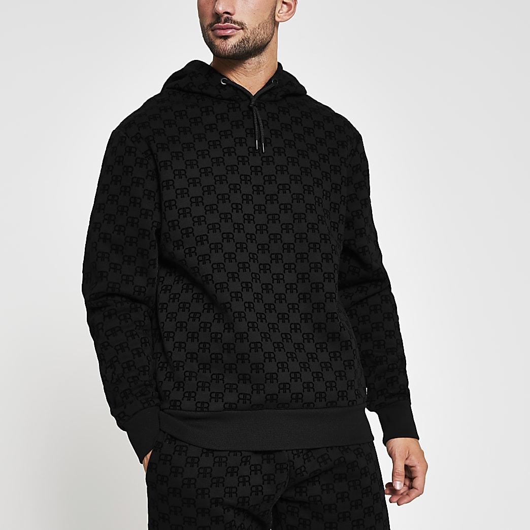 Black 'RR' Monogram print slim fit hoodie