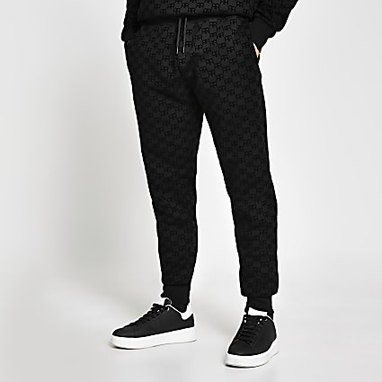 Black 'RR' Monogram print slim fit joggers