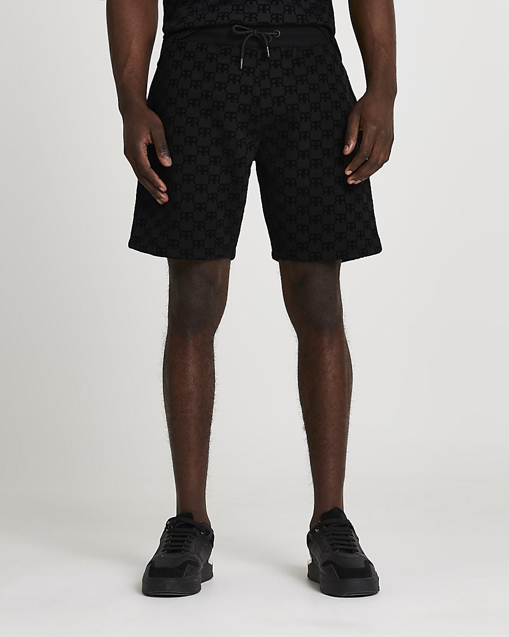 Black 'RR' Monogram print slim fit shorts