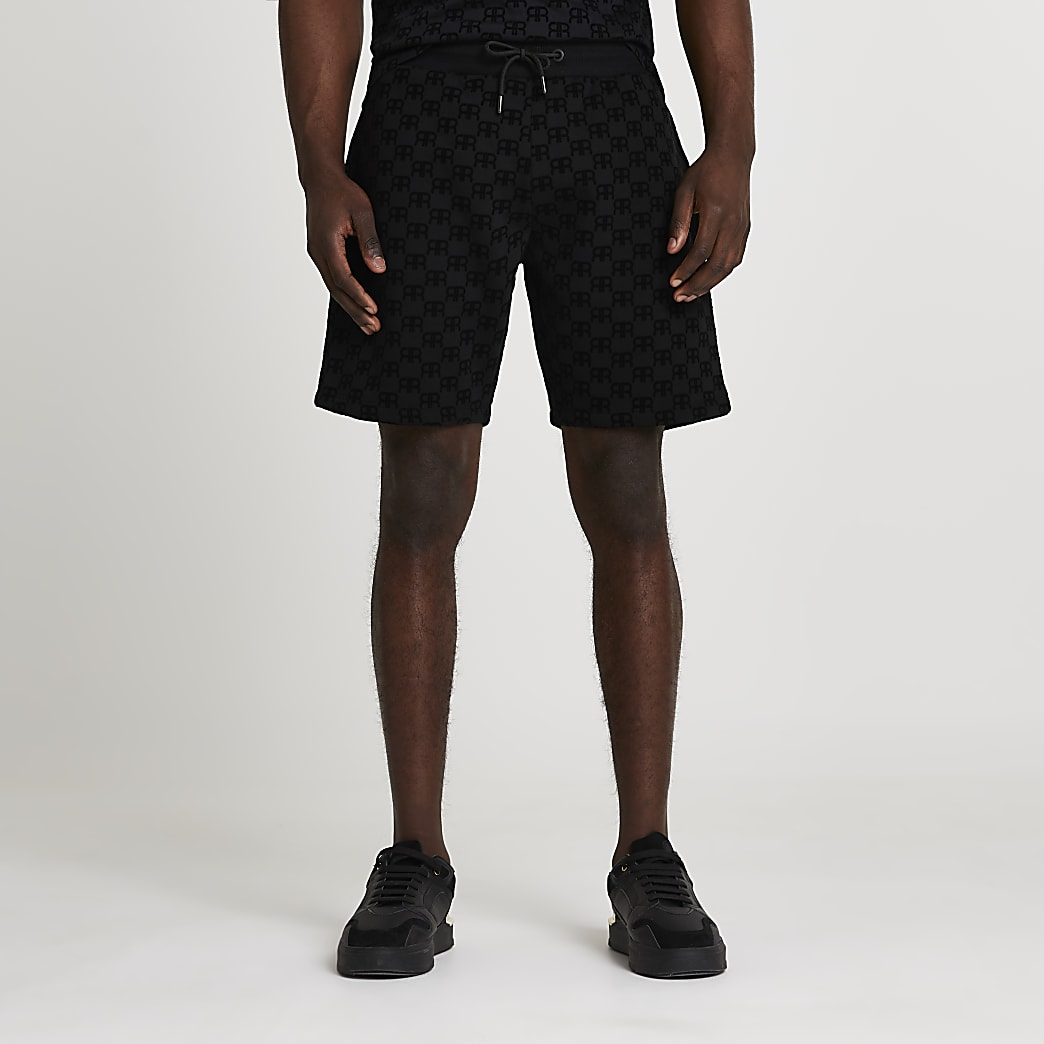 Black 'RR' Monogram print slim fit shorts