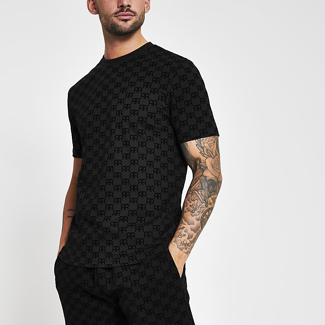 Black 'RR' monogram print slim fit t-shirt