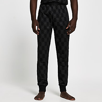 Black 'RR' monogram pyjama trousers