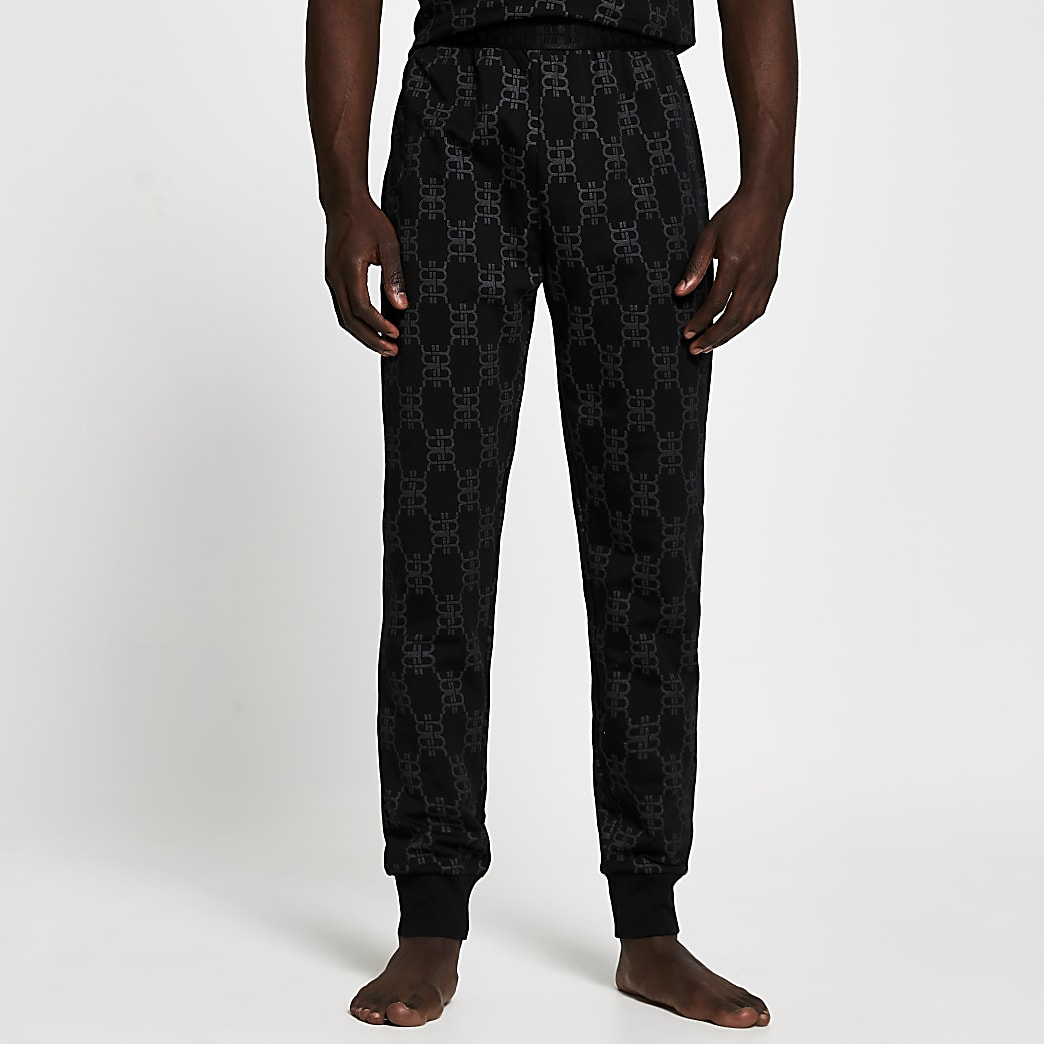 Black 'RR' monogram pyjama trousers