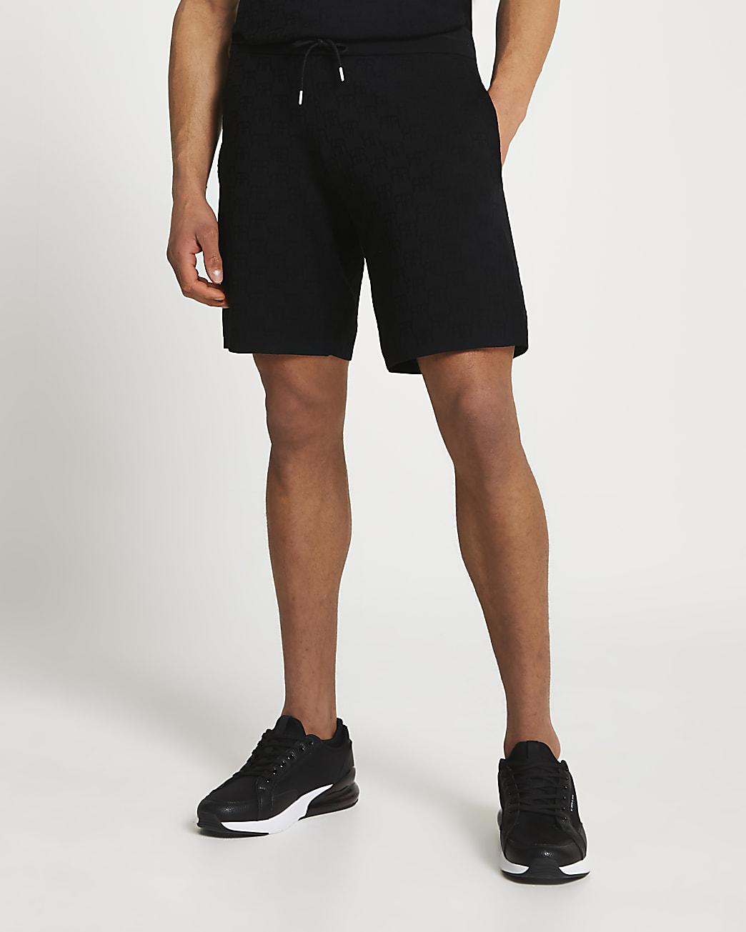 Black RR monogram slim fit shorts