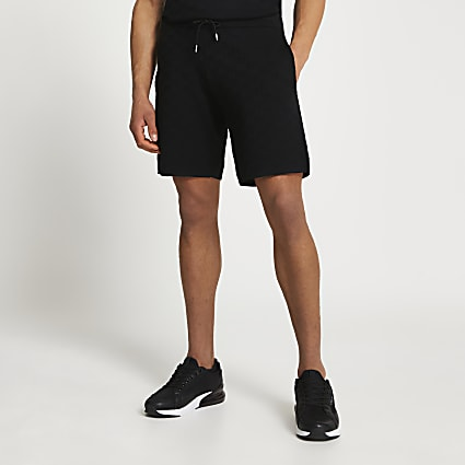 Black RR monogram slim fit shorts
