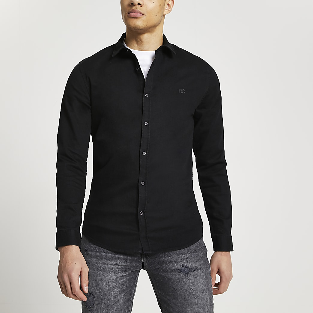 Black RR muscle fit denim shirt