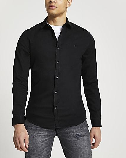 Black RR muscle fit long sleeve denim shirt