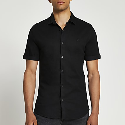 Black RR muscle fit short sleeve denim shirt