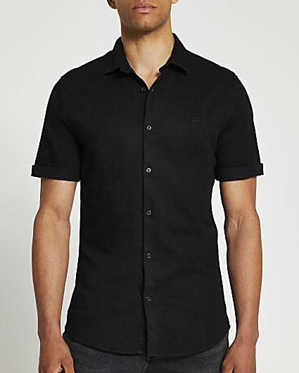 Black RR muscle fit short sleeve denim shirt
