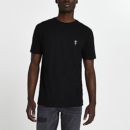 Black 'RR' palm trees logo slim fit t-shirt