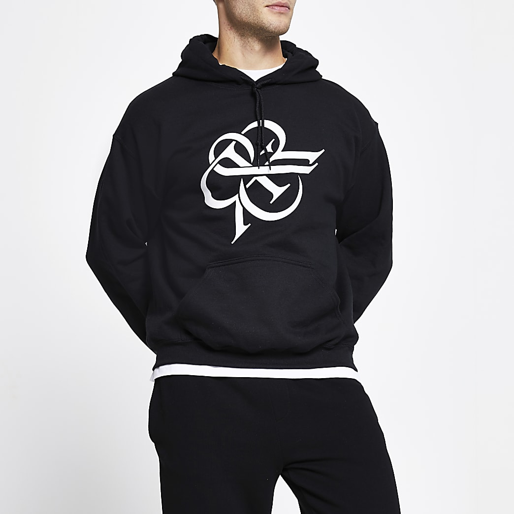 Black 'RR' print long sleeve slim fit hoodie