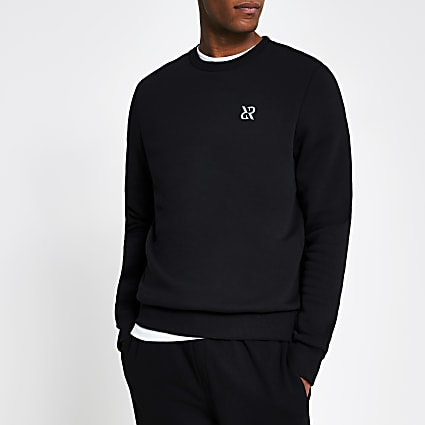 Black RR print long sleeve sweat