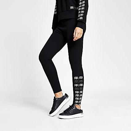 Black RR printed side diamante leggings