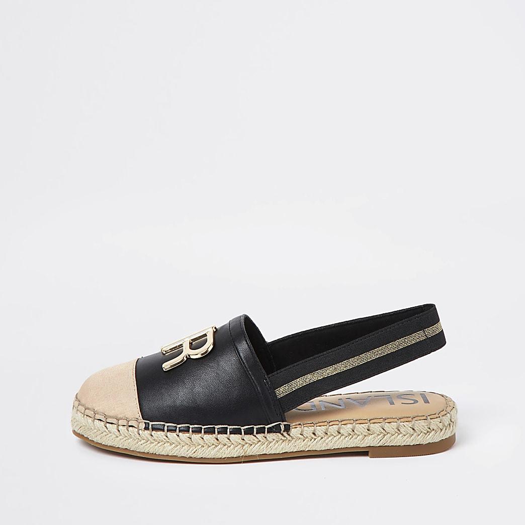 Black 'RR' sling back espadrille sandals
