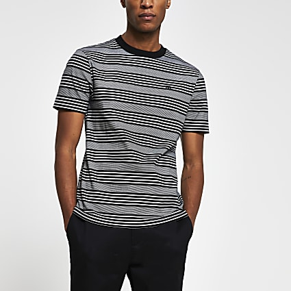 Black 'RR' stripe slim fit t-shirt