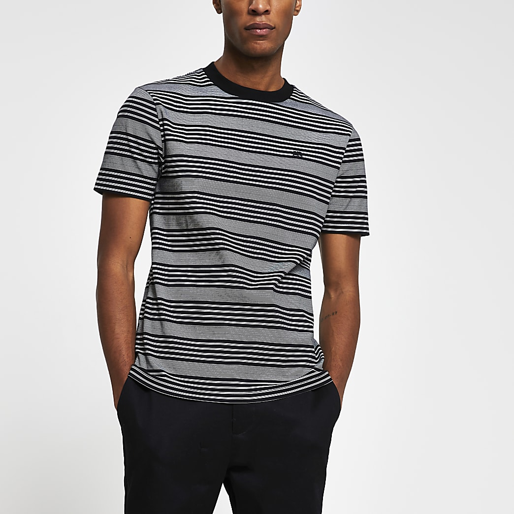 Black 'RR' stripe slim fit t-shirt