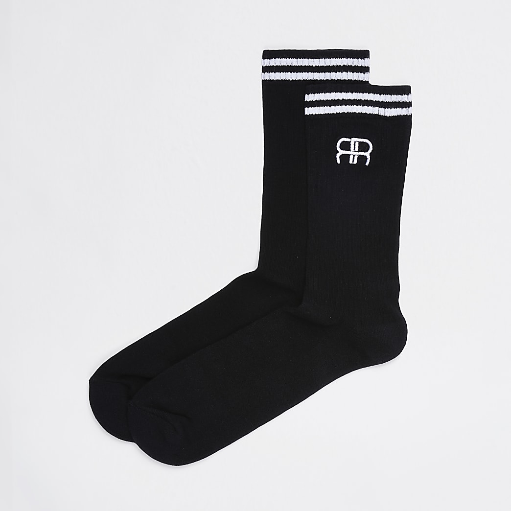 Black RR stripe tube socks 1 pair