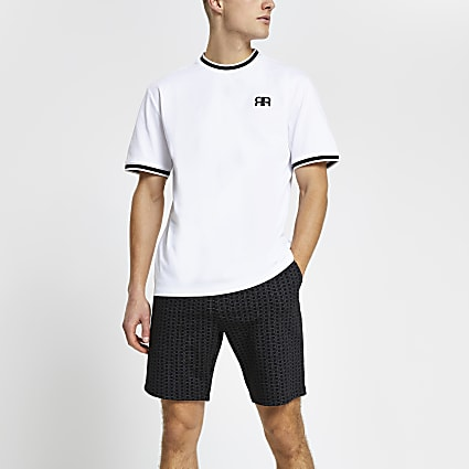 Black 'RR' t-shirt and short pyjama set