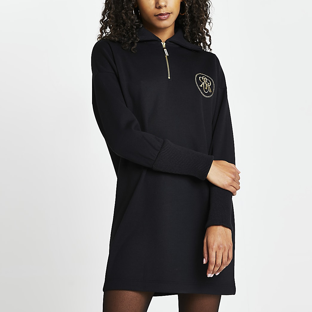 Black 'RR' zip detail sweater mini dress