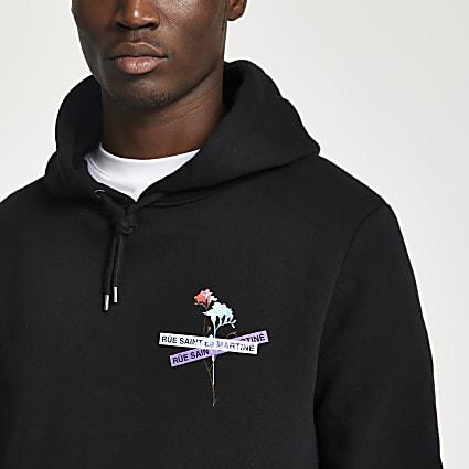 Black 'Ru Saint Martine' print hoodie