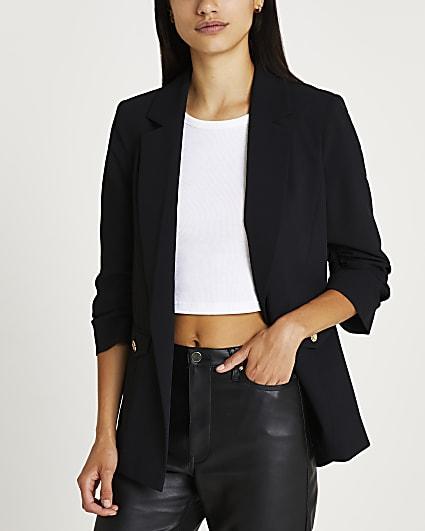 Black ruched blazer