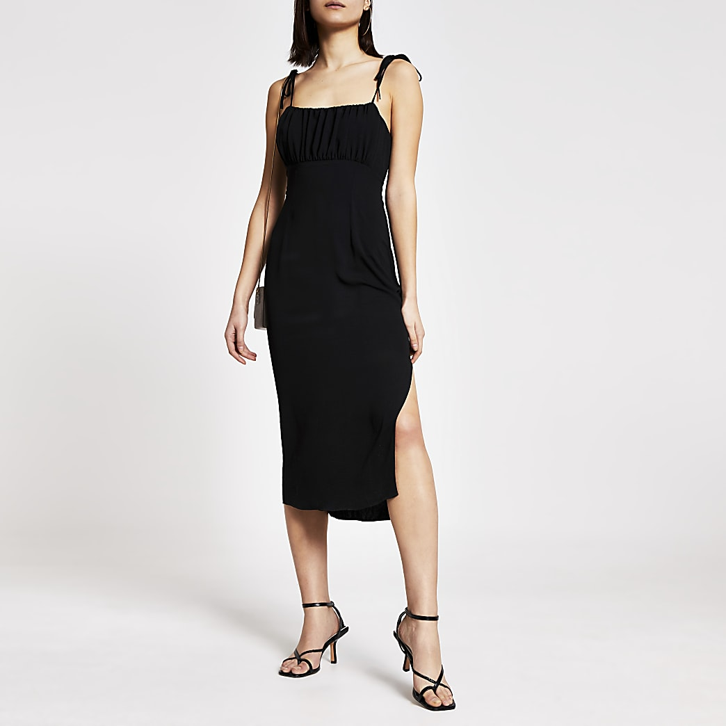 Black ruched bodice midi slip dress