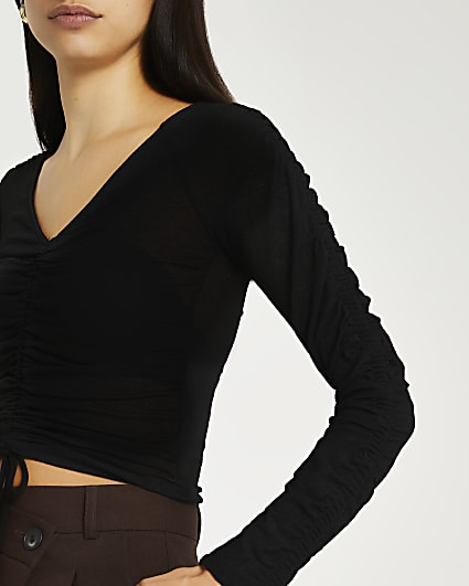 Black ruched cropped top
