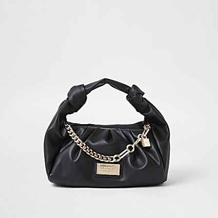 Black ruched faux leather shoulder bag