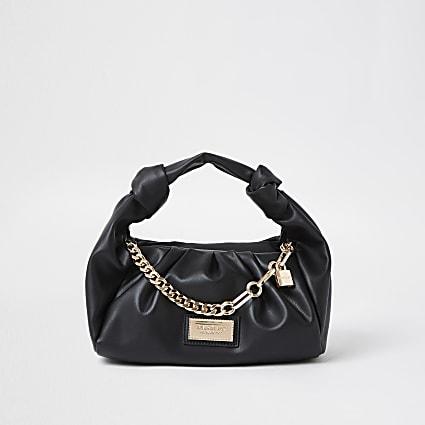 Black ruched faux leather shoulder bag