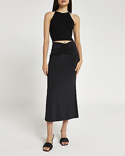 Black ruched fishtail midi skirt